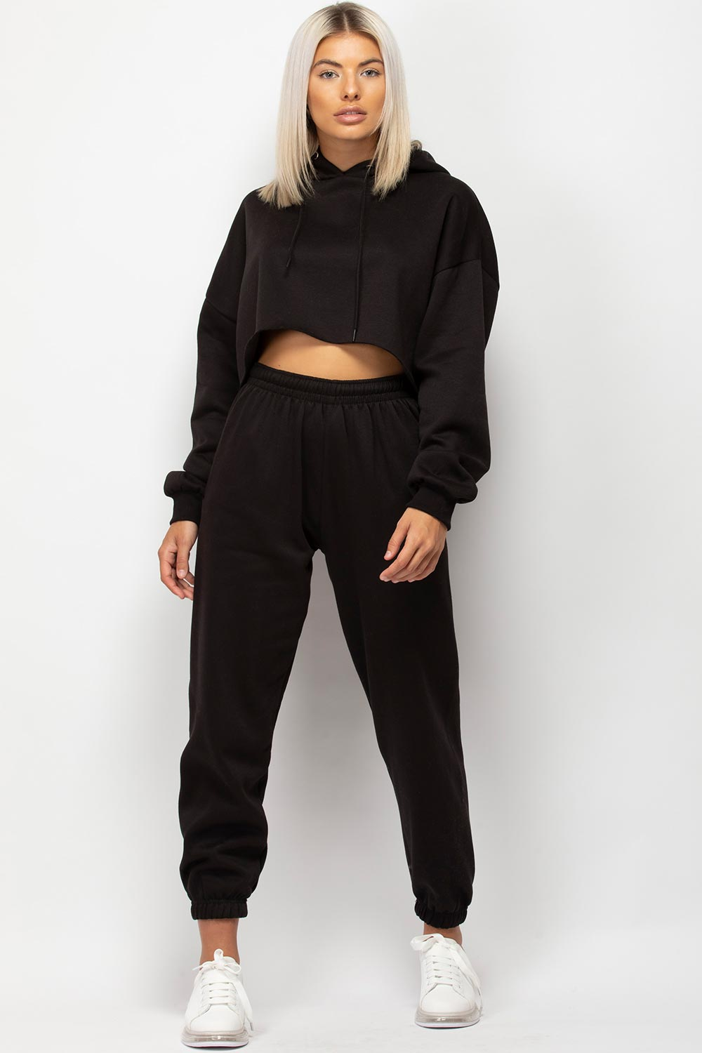 black cropped hoodie and joggers set