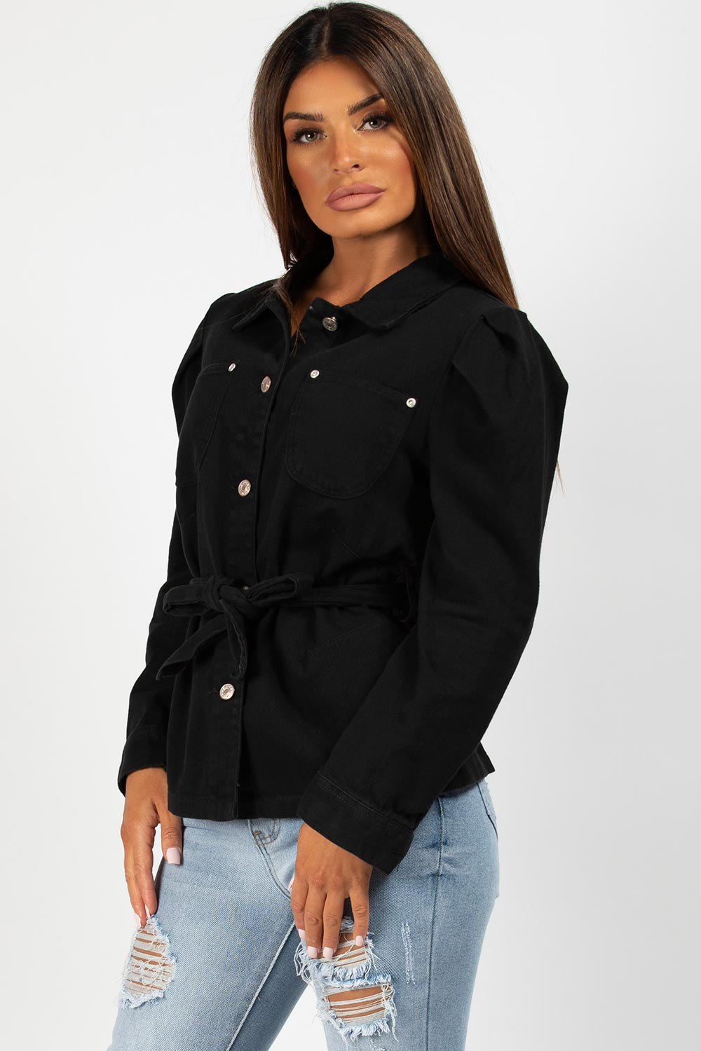 puff sleeve denim jacket black