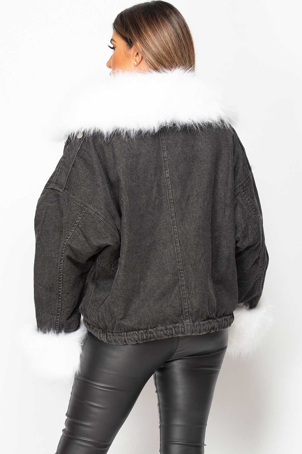 womens oversized black denim jacket with faux fur
