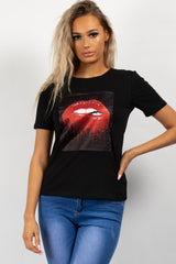 black diamante t shirt womens