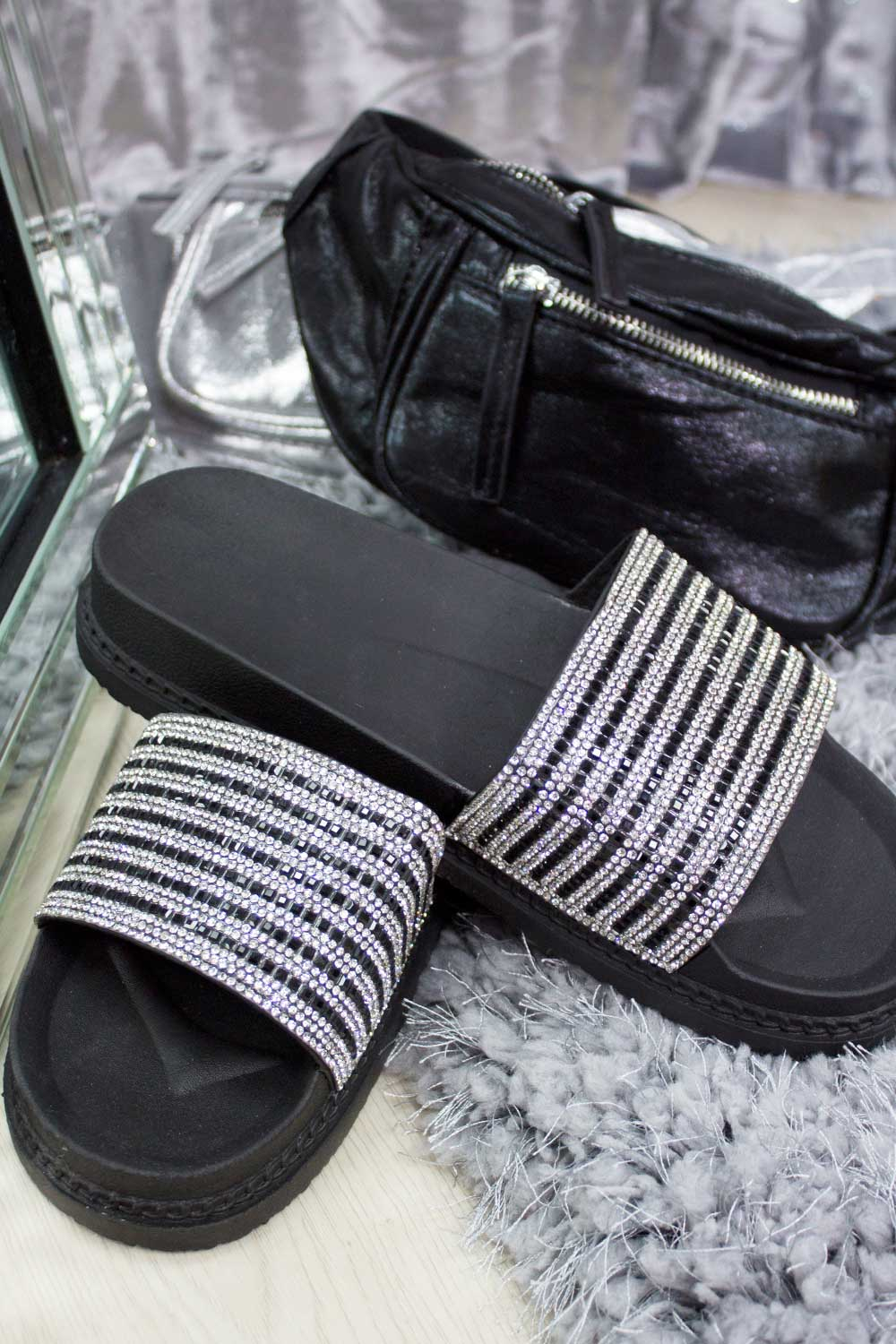 black diamante sliders on sale