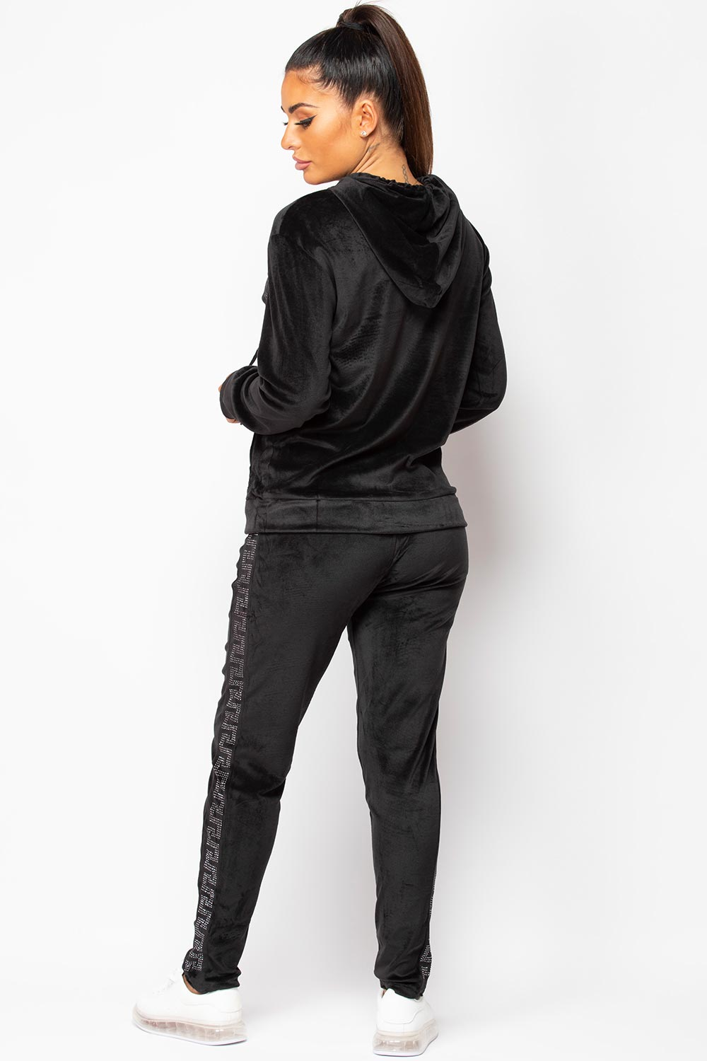 womens black velour tracksuit hooded