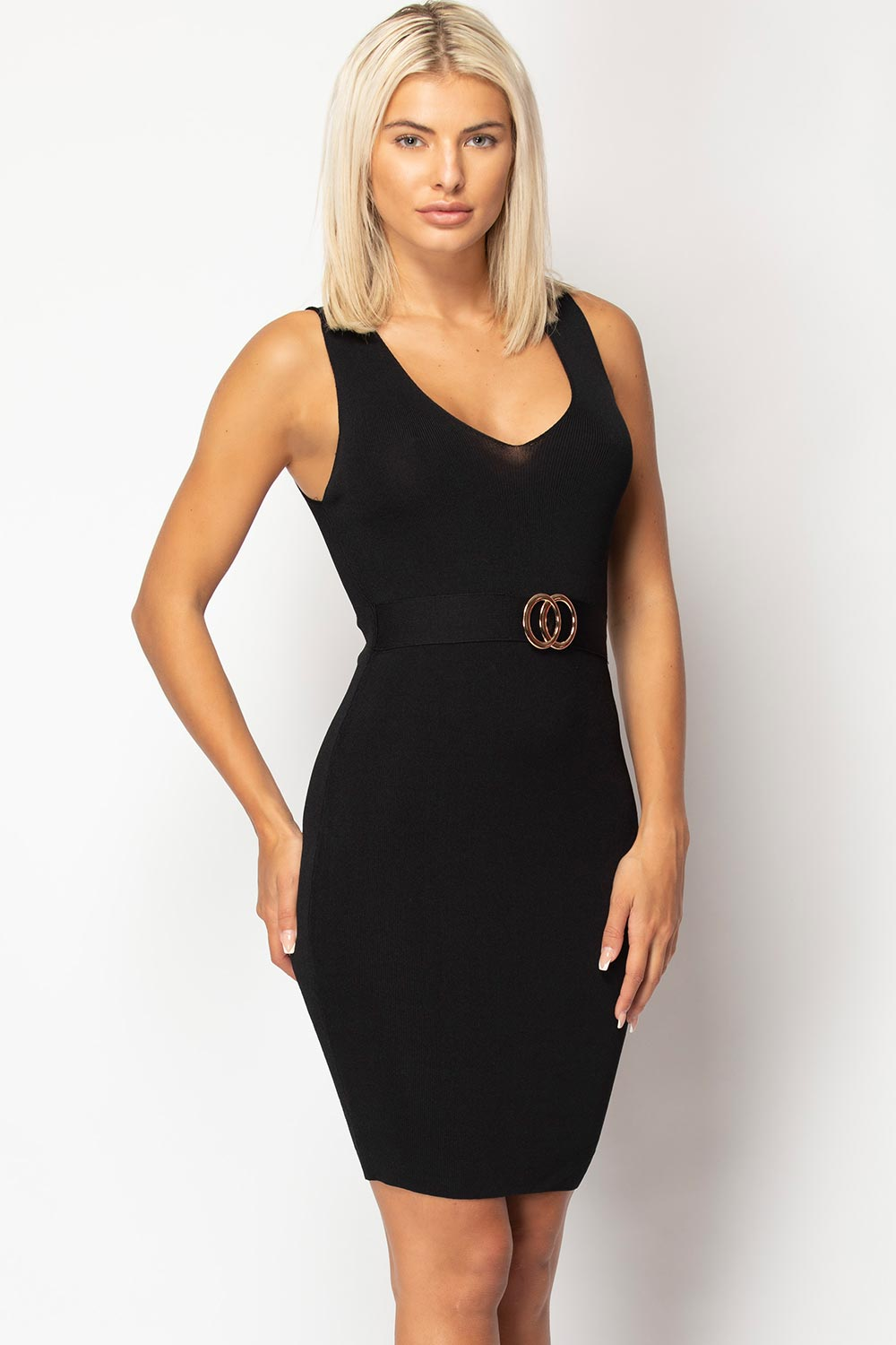 black knitted bodycon mini dress