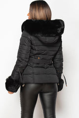 black padded puffer jacket with faux fur hood