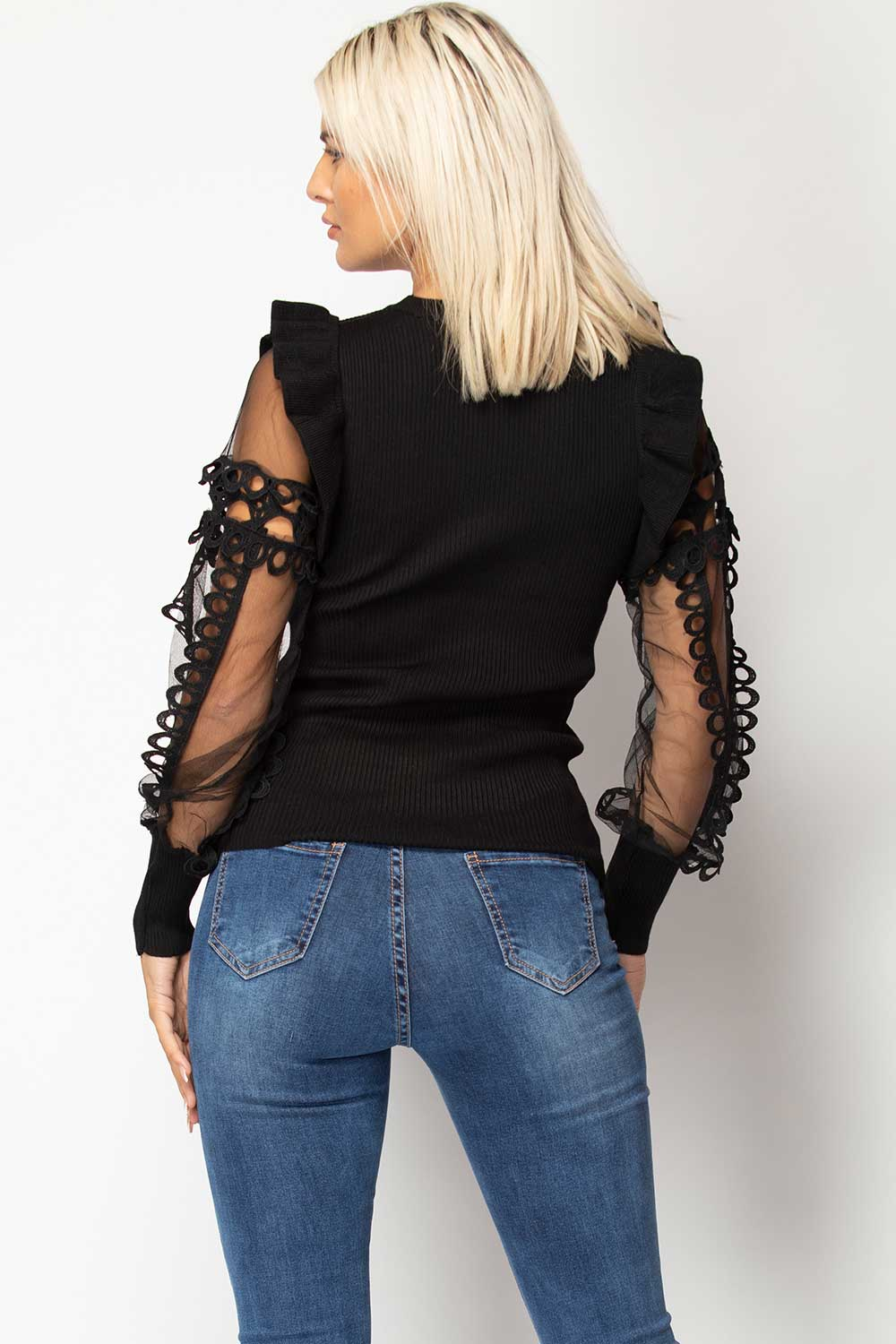 black sheer lace sleeve jumper womens