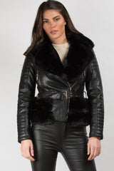black faux leather faux fur belted jacket uk