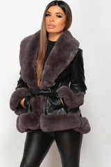 faux fur faux leather belted jacket womens