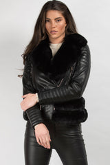 black faux fur belted biker jacket