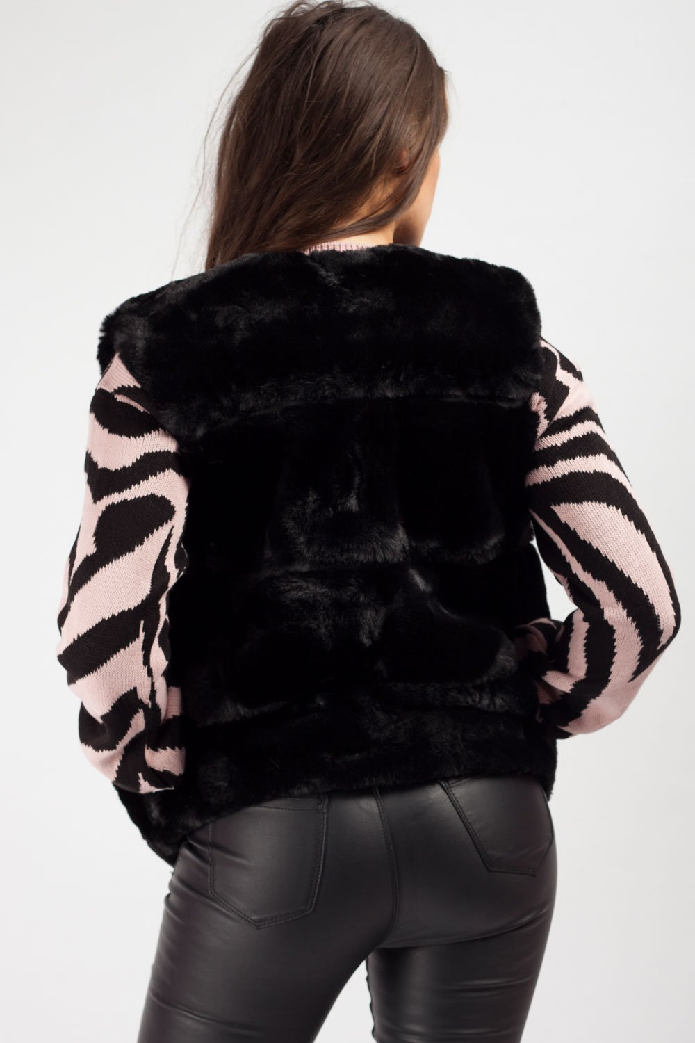 black faux fur gilet short
