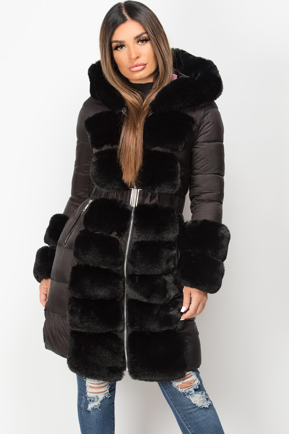 black faux fur hood down coat womens