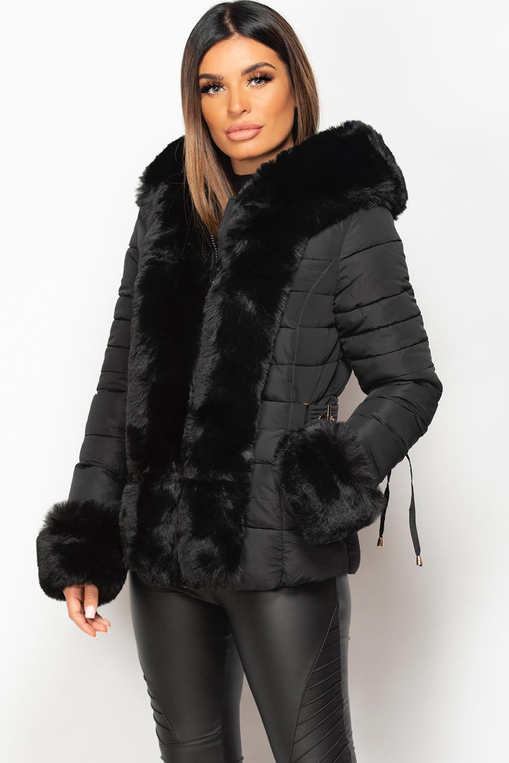 black faux fur hood puffer coat