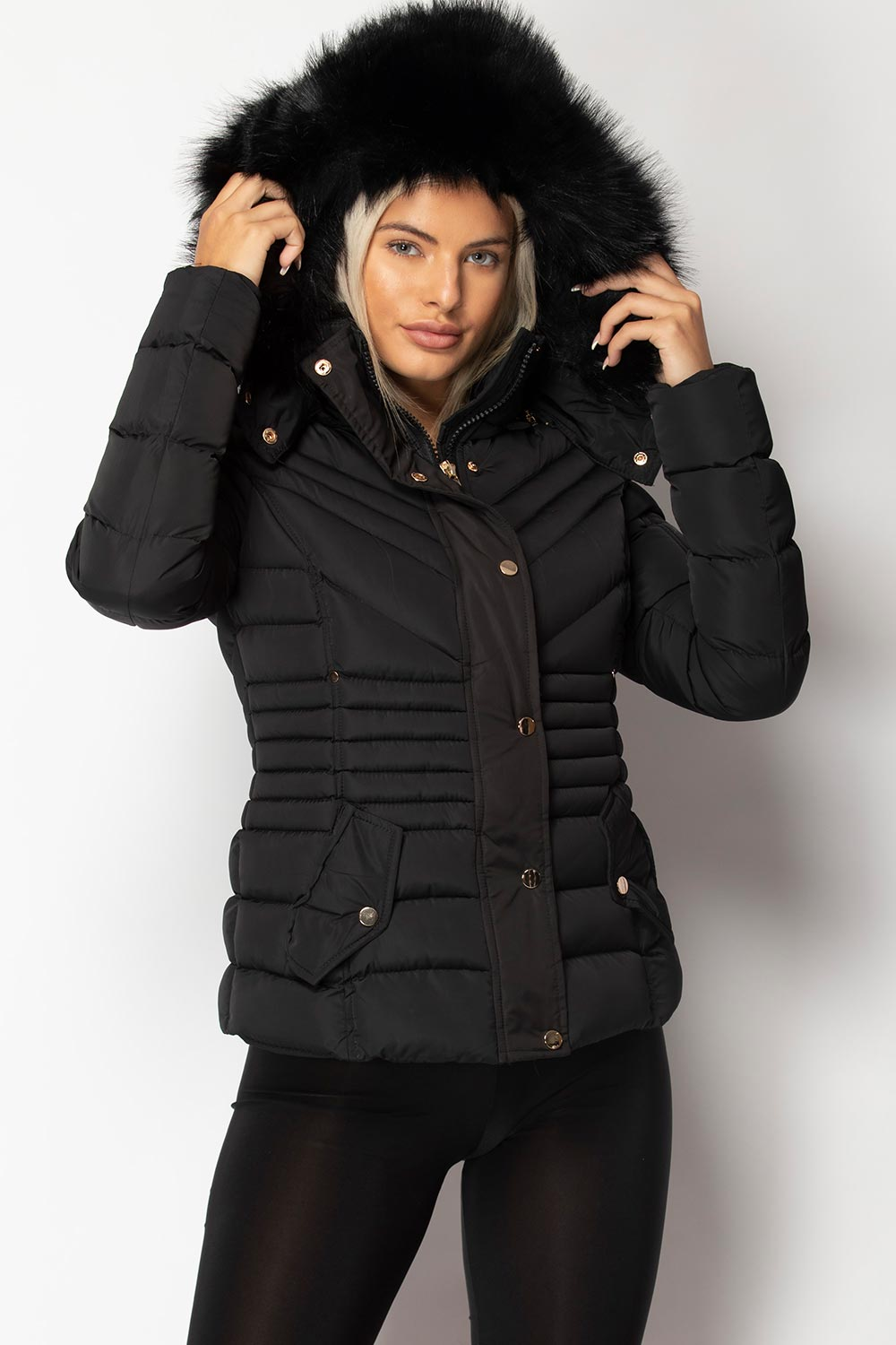 black puffer coat with fur hood