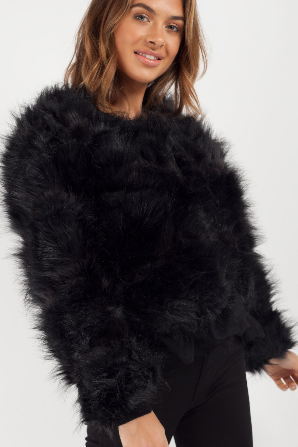 black faux fur coat on sale
