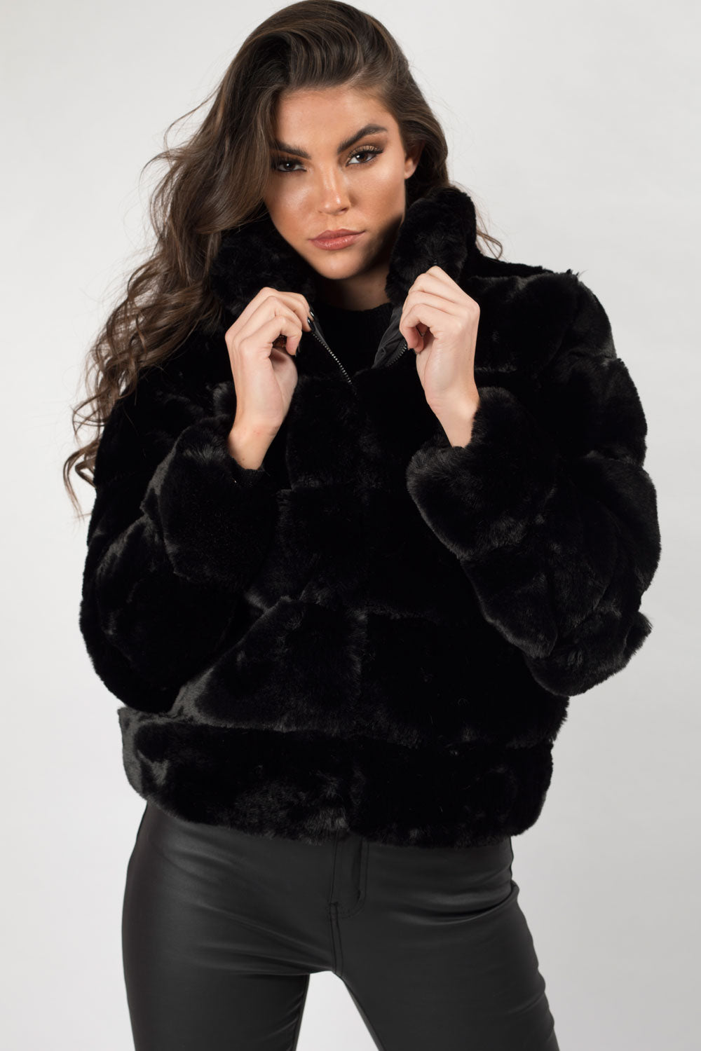 fur jacket black