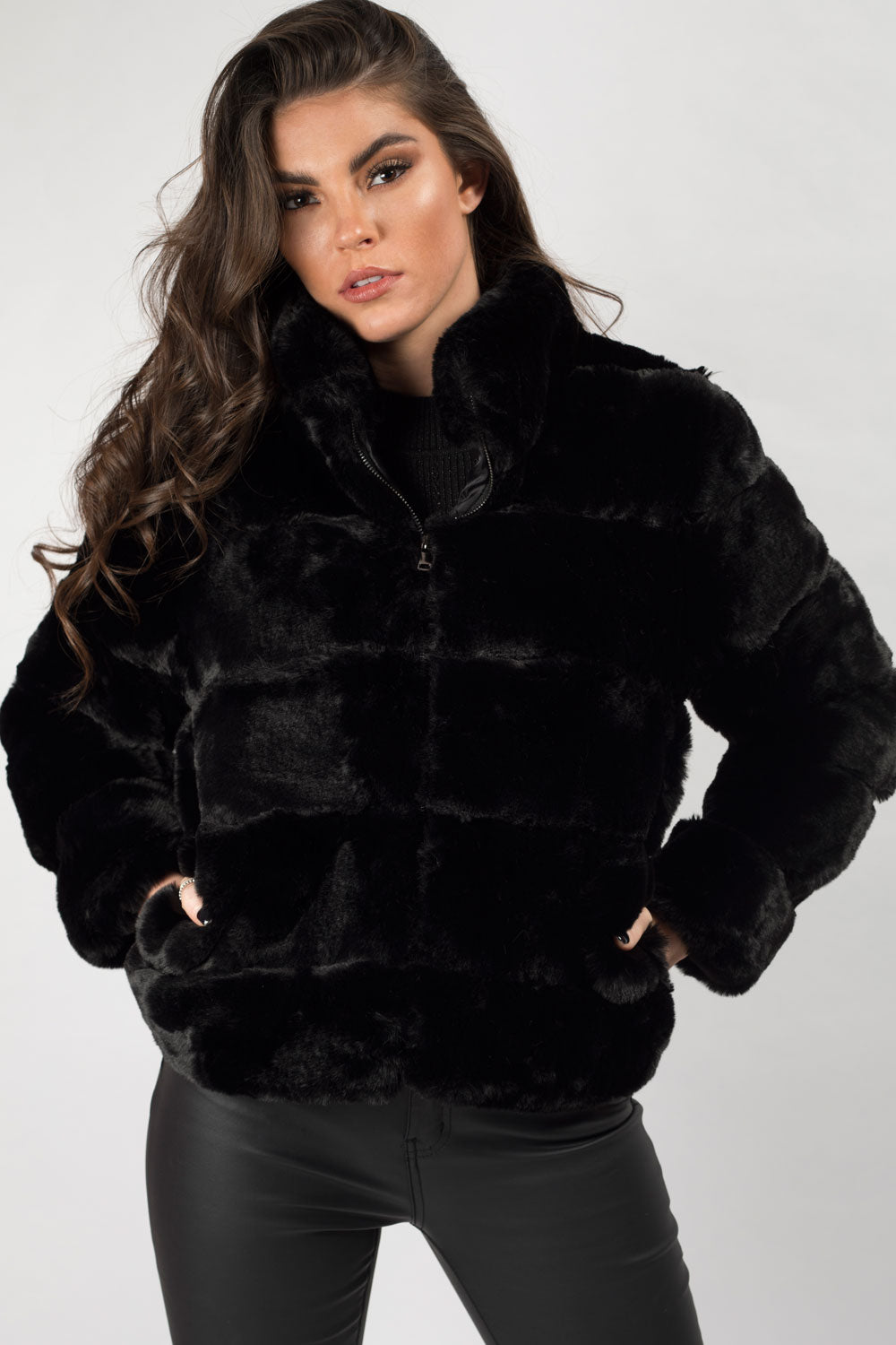 black fur coat on sale