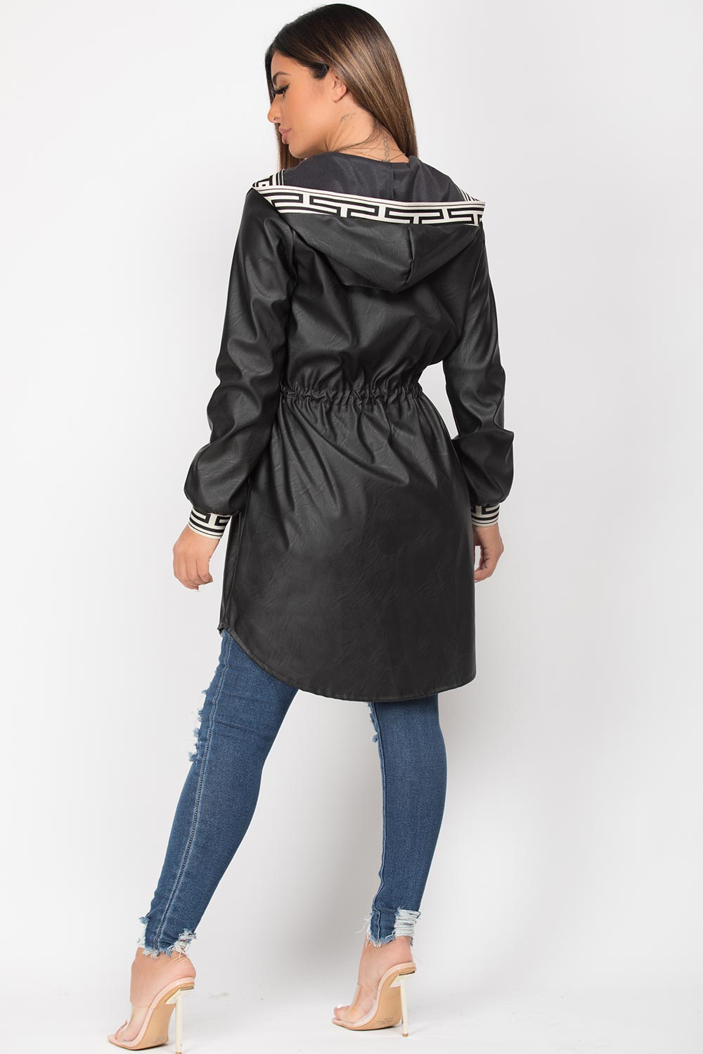 drawstring waist hooded jacket faux leather