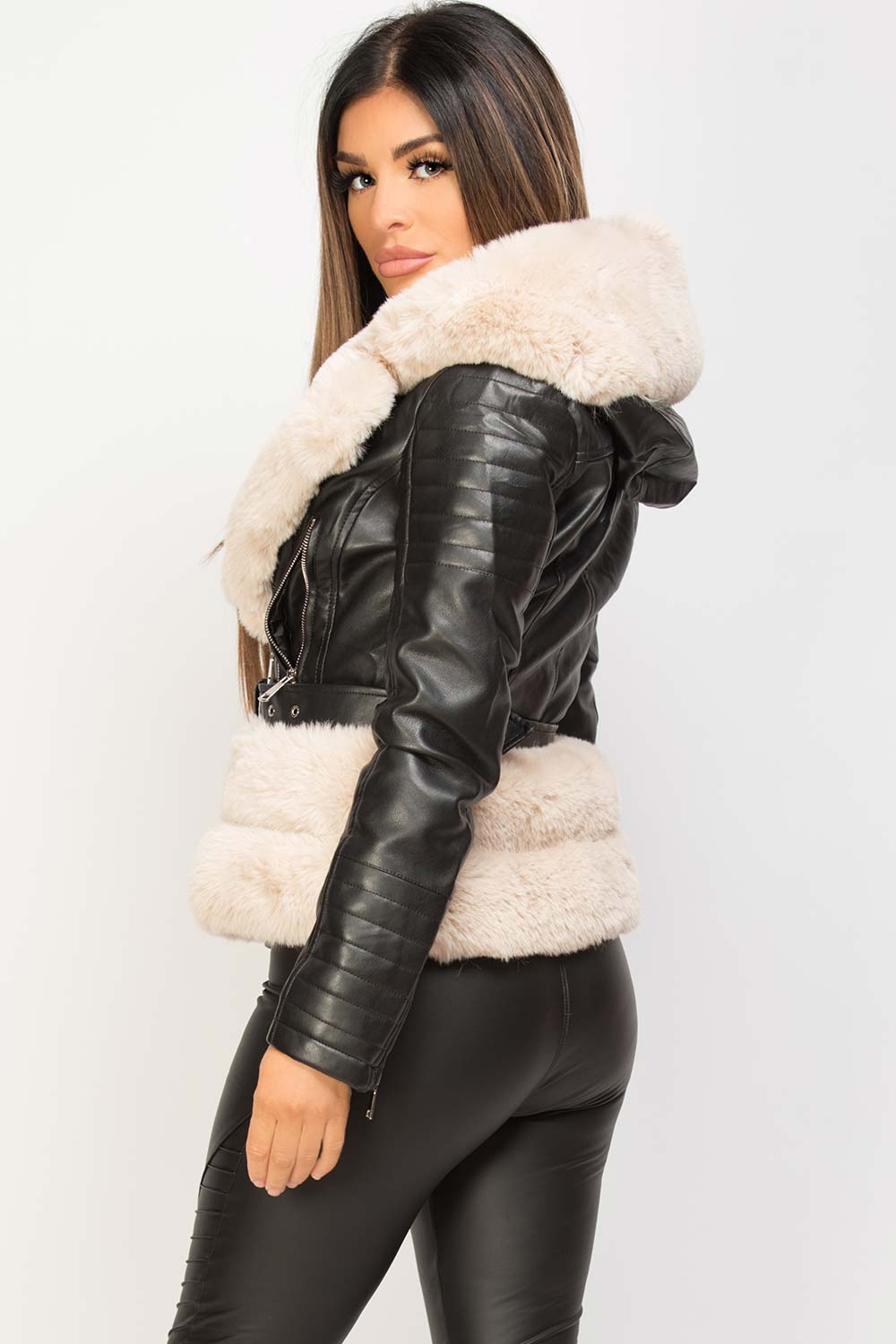 womens faux fur faux leather hooded belted jacket