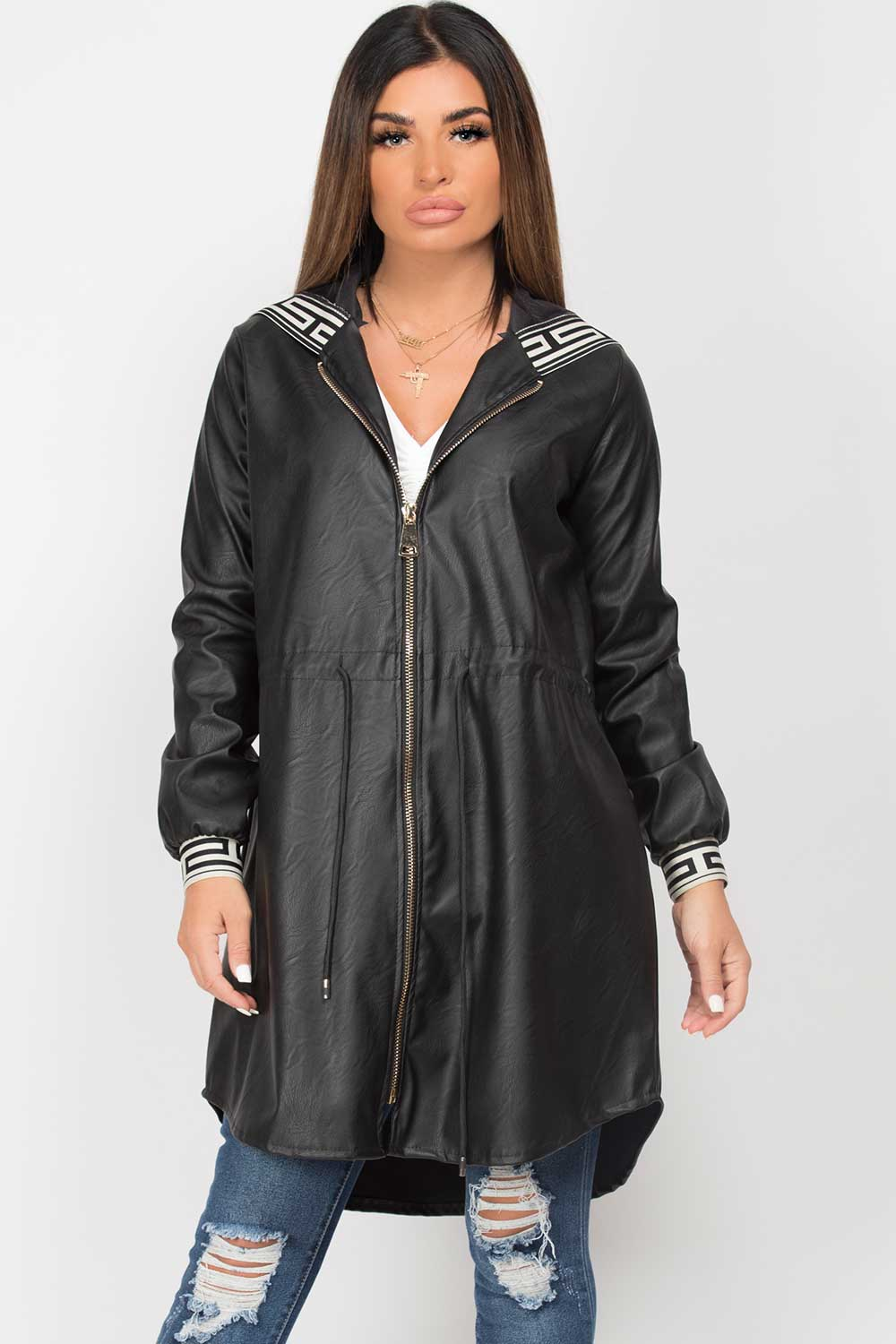 pu leather drawstring waist hooded jacket