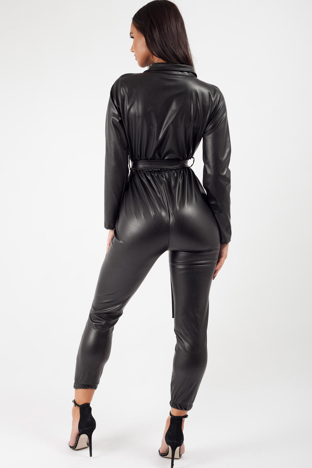 black utility belted faux leather jumpsuit
