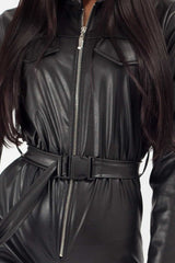 utility belted faux leather jumpsuit