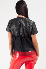 black faux leather top womens