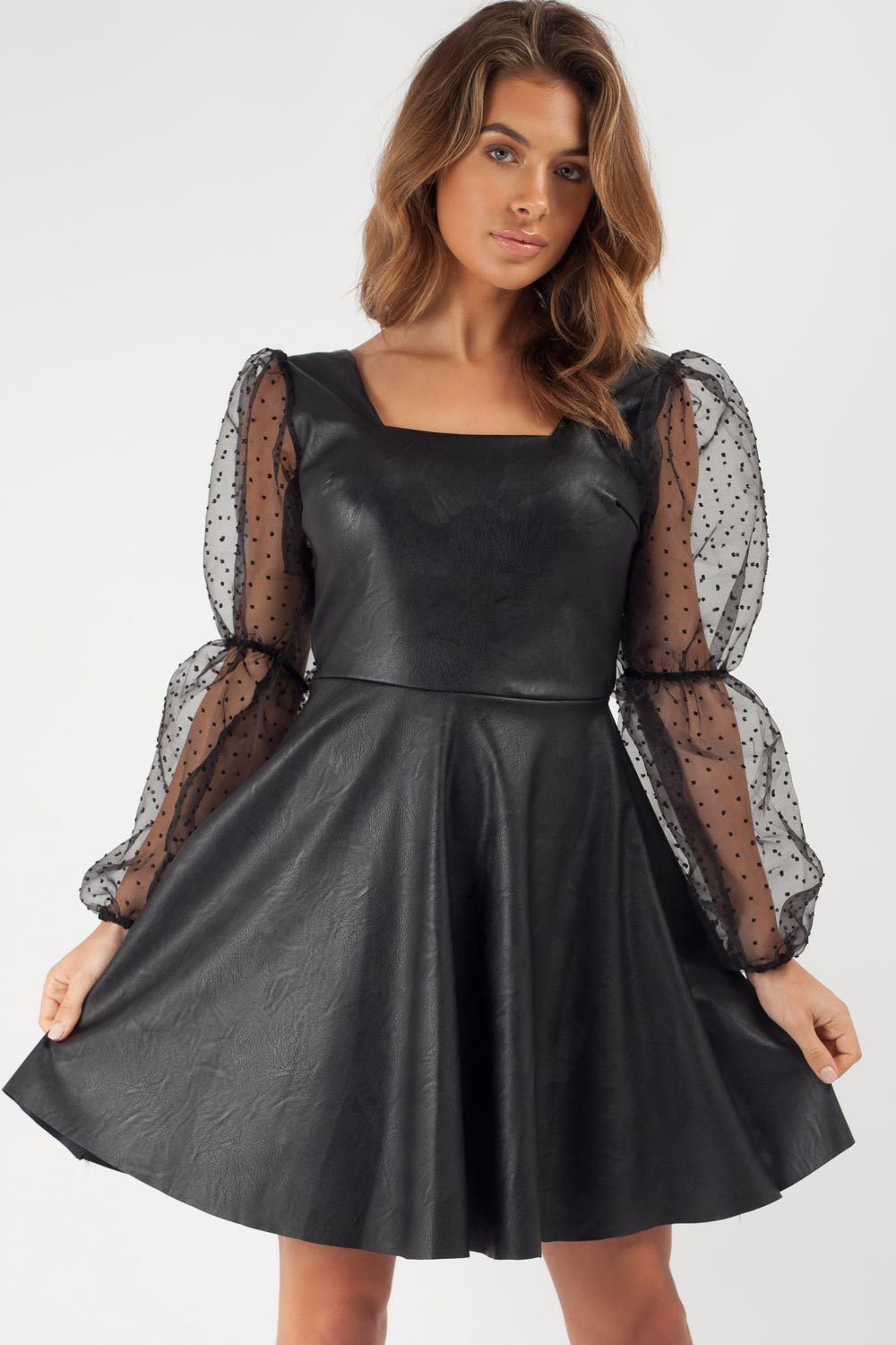 faux leather skater dress uk