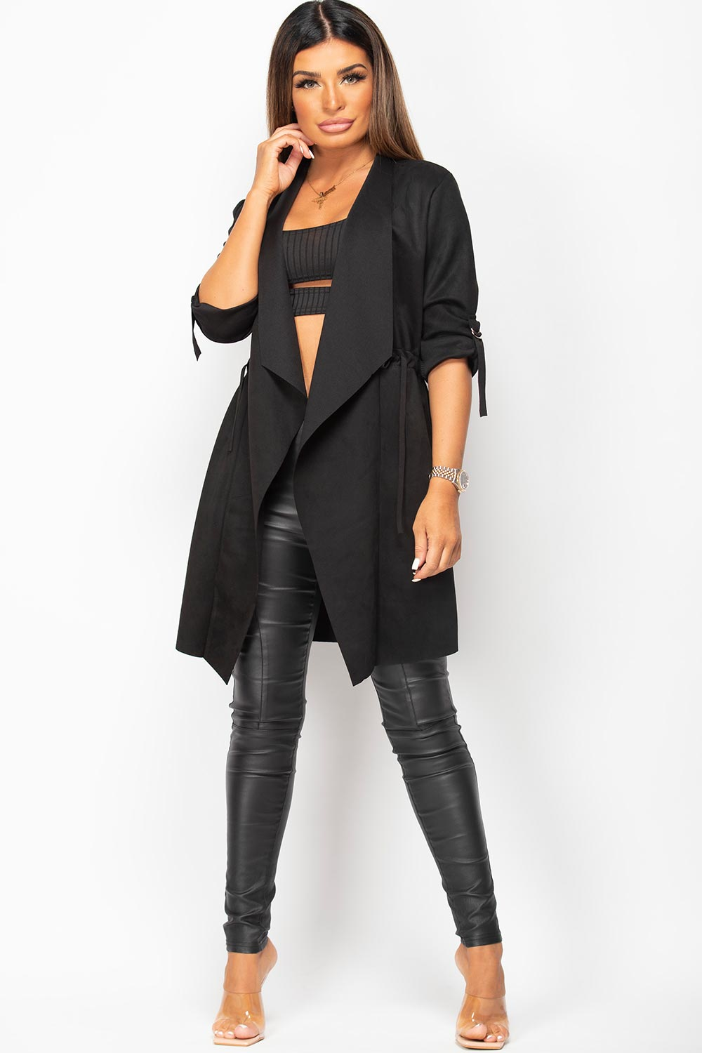 faux suede duster jacket