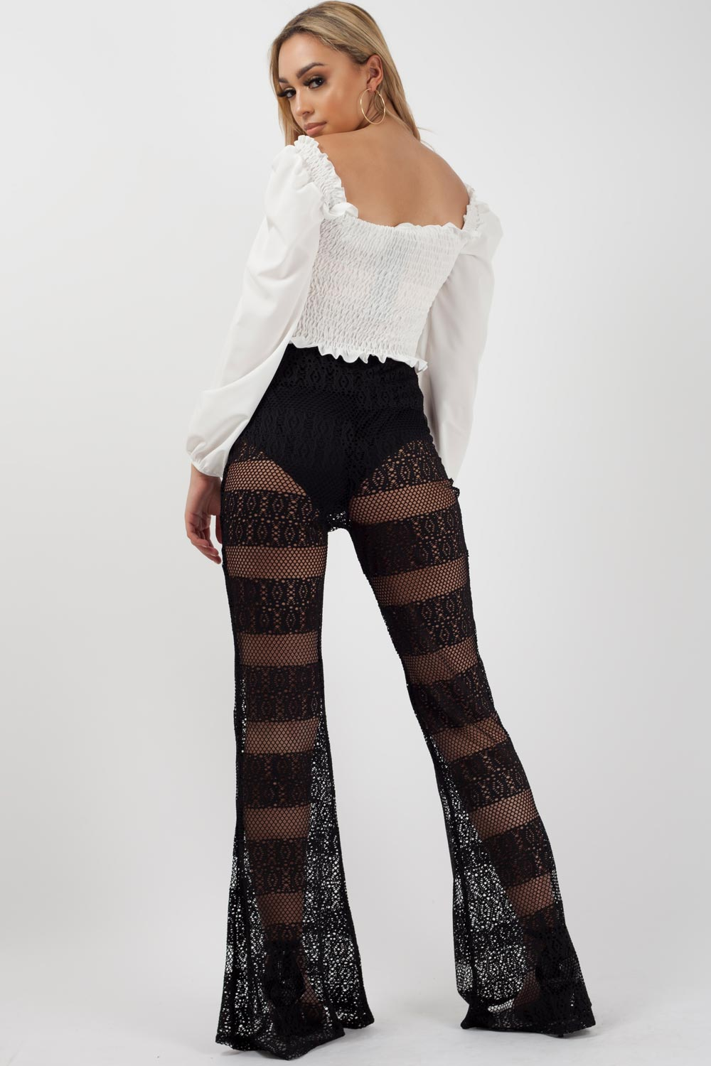 high waisted crochet flared trousers black
