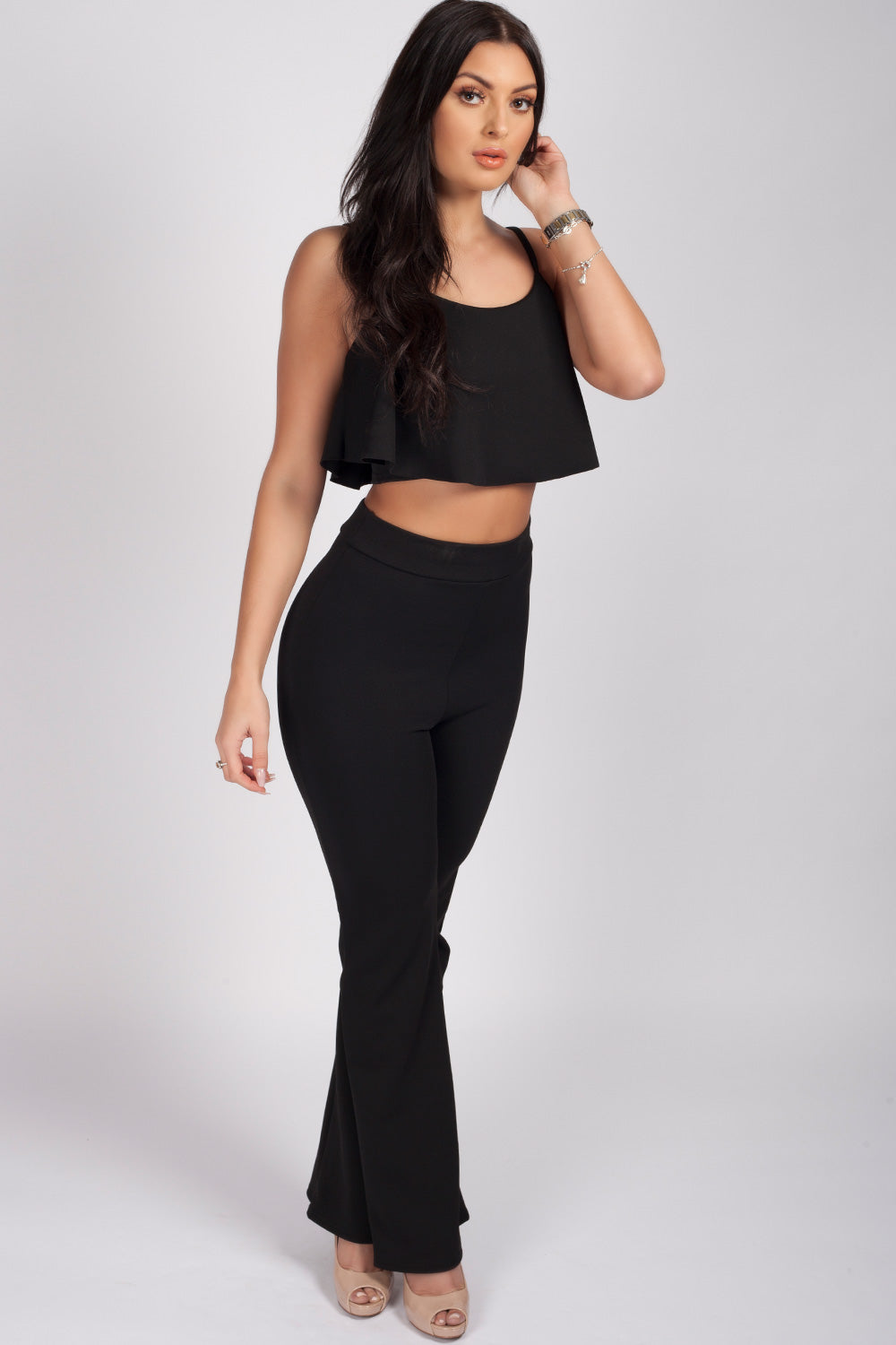 flare trouser and crop top black