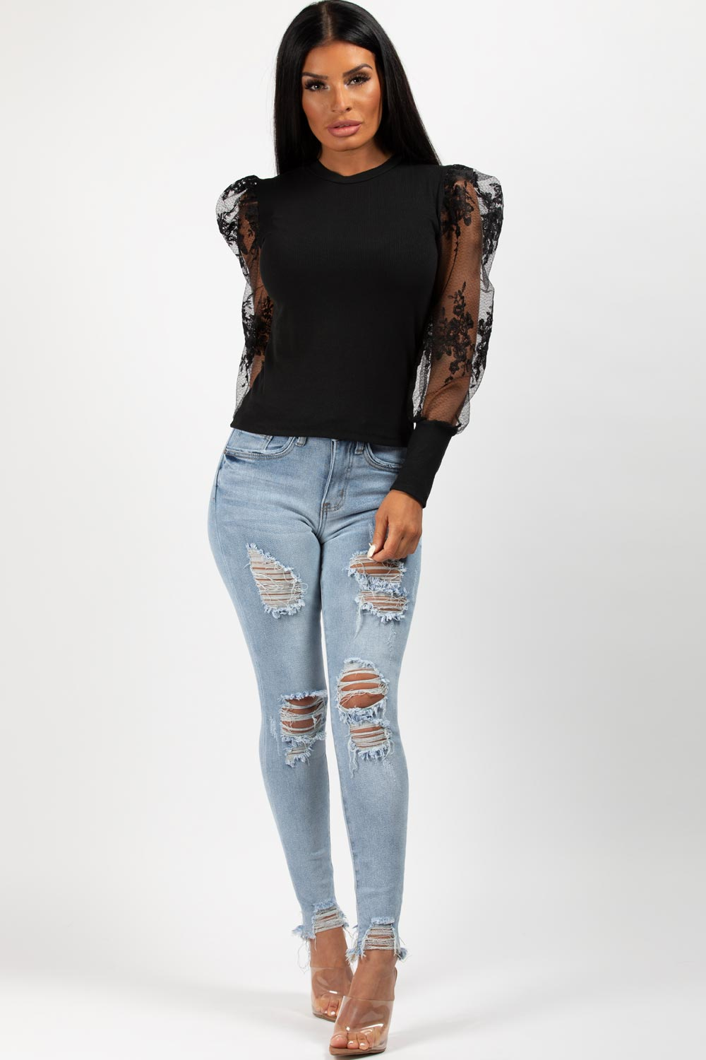 black floral mesh sleeve ribbed top