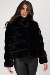 faux fur bubble coat black