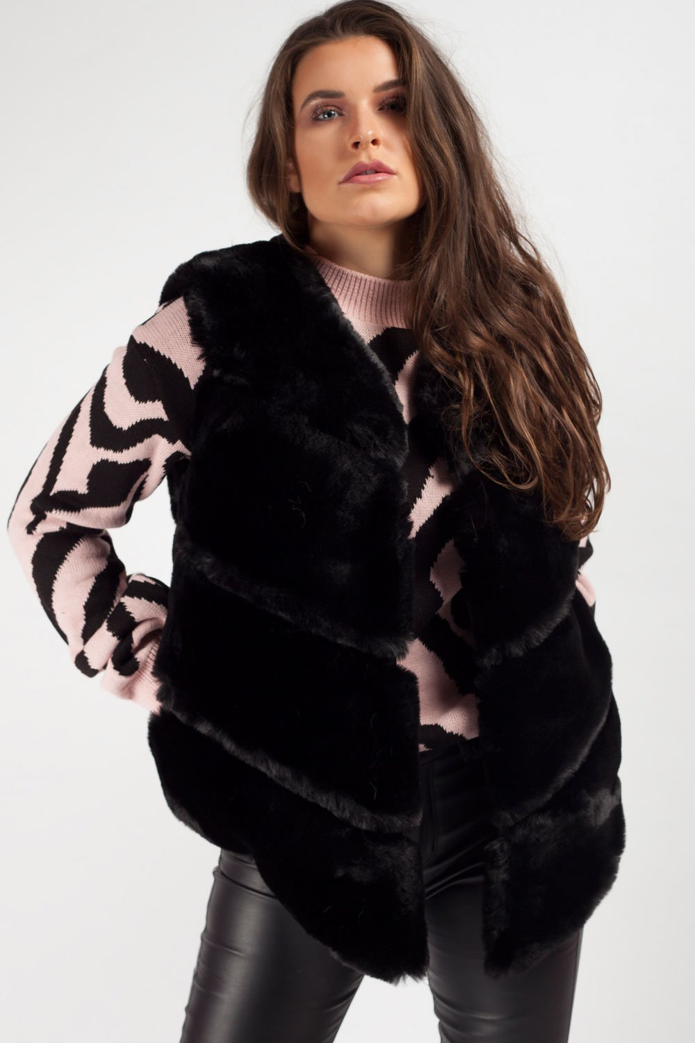 black faux fur gilet on sale uk