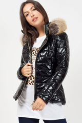 black fur hood puffer coat womens