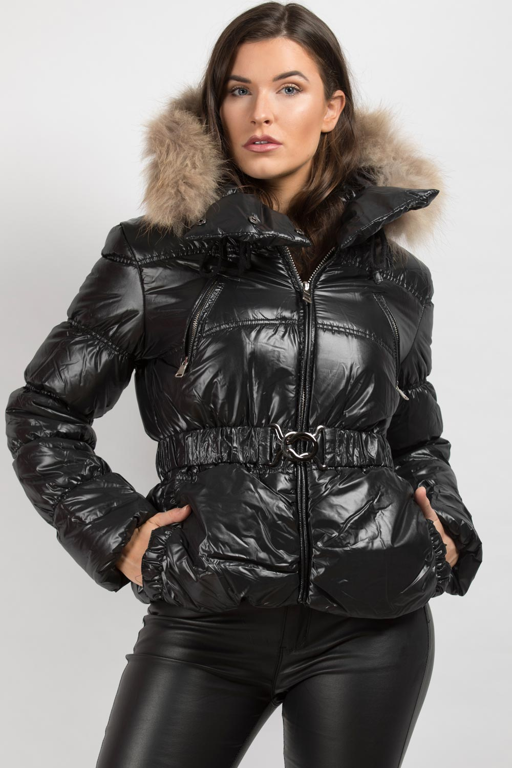 womens coats with big fur hoods uk