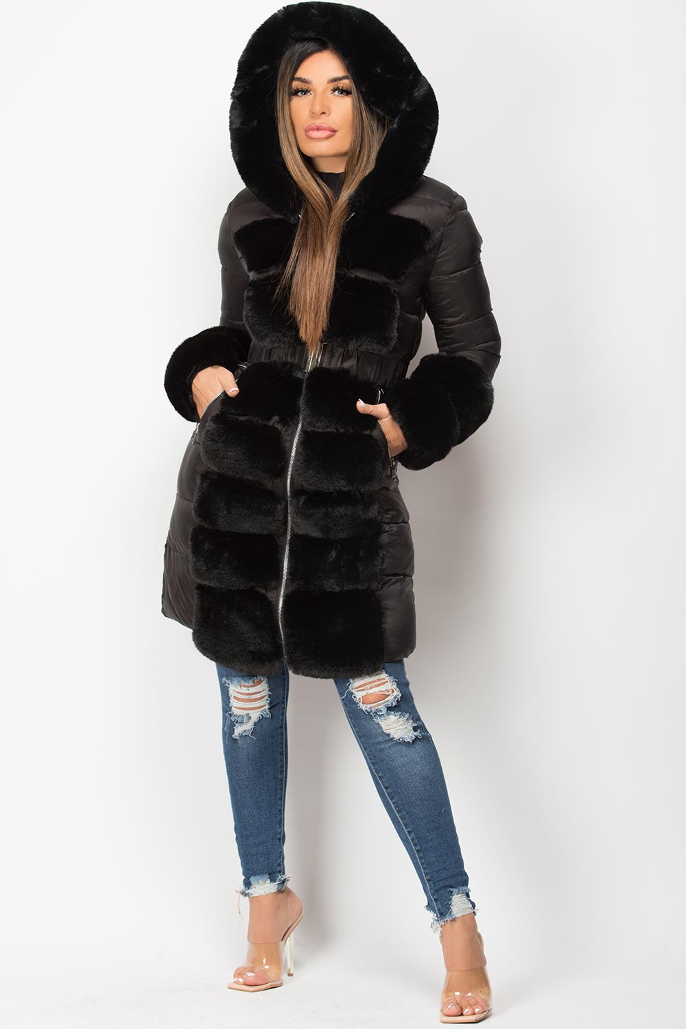 black faux fur trim belted hooded puffer down coat