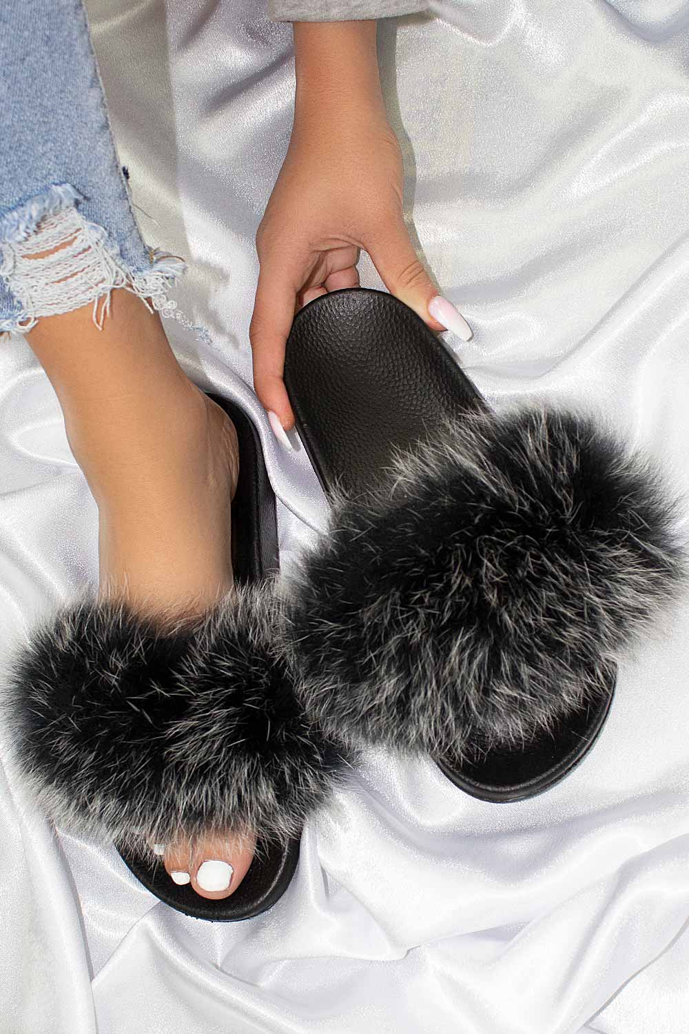 real fur sliders uk