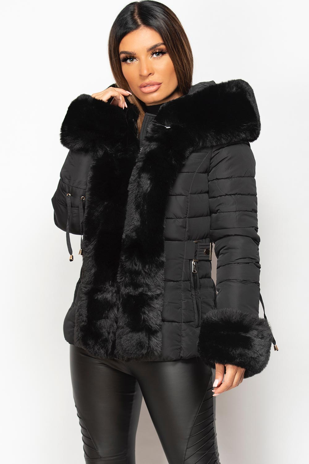 fur hooded padded puffer coat womens