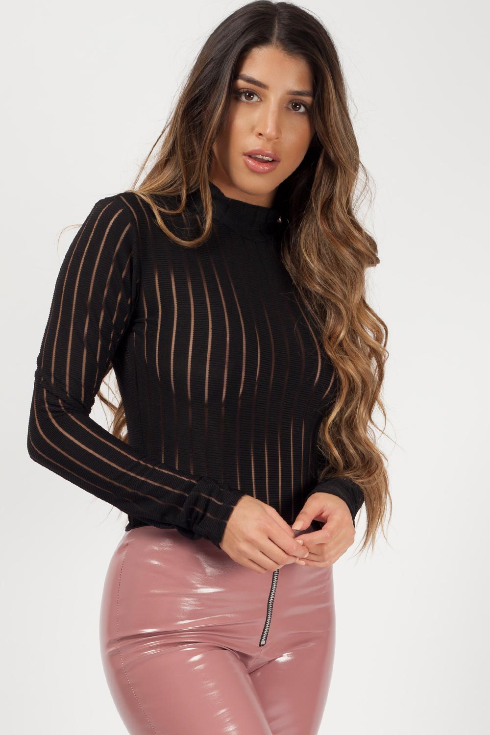 high neck long sleeve bodysuit black