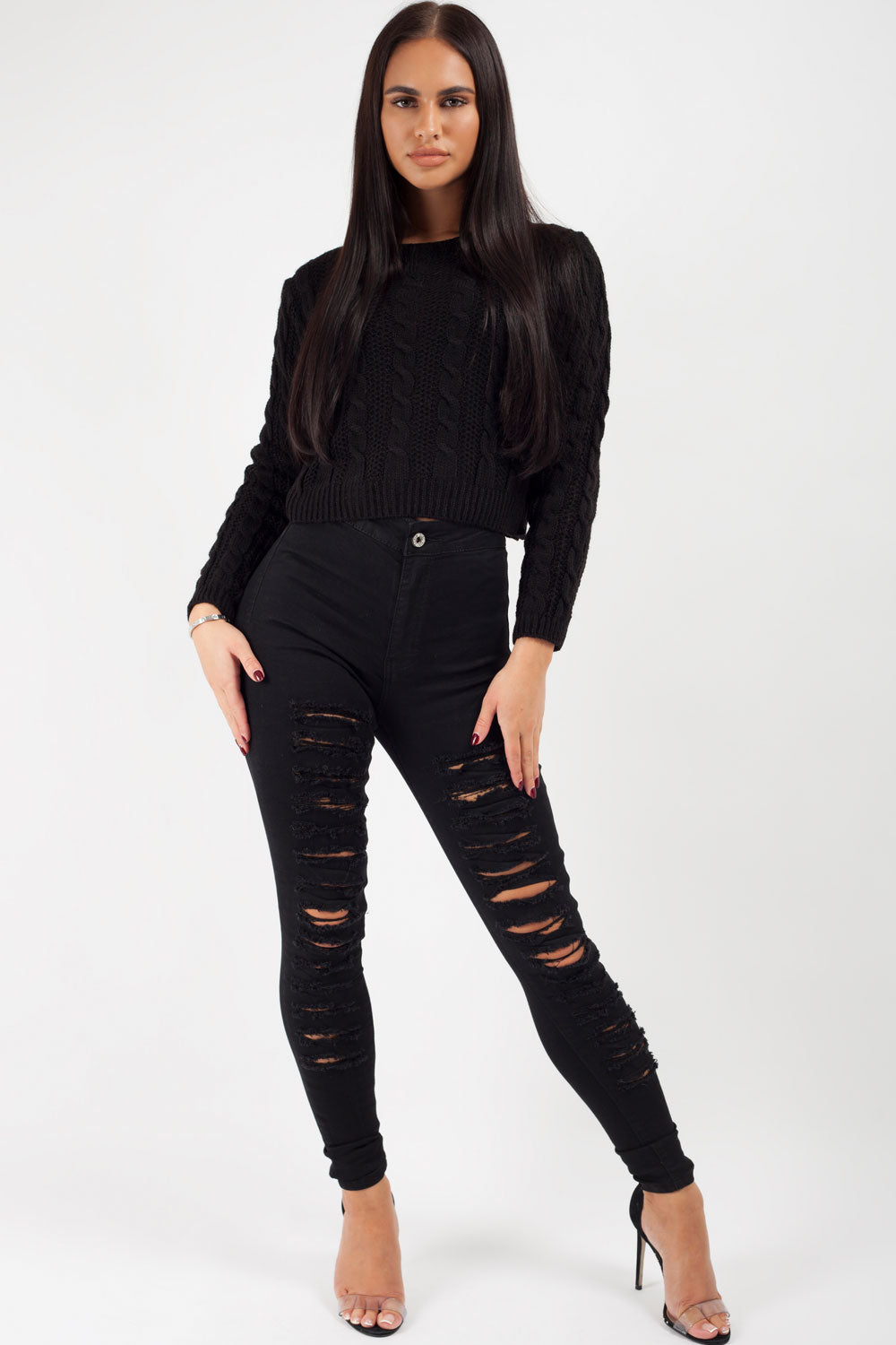 black ripped skinny jeans womens
