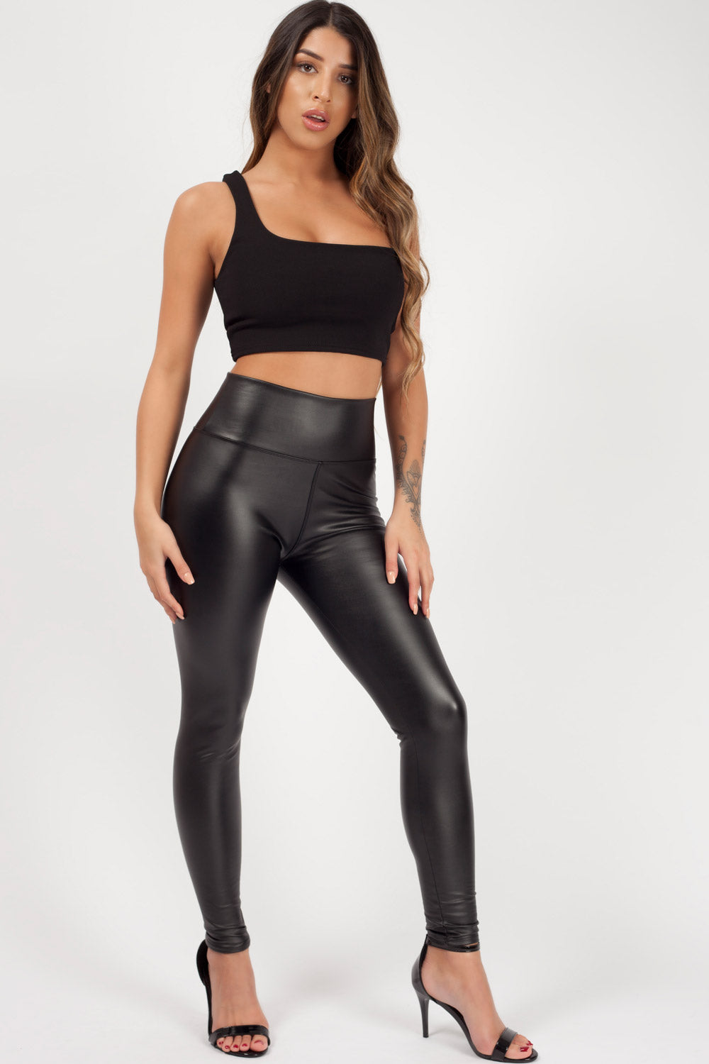 high waist leather look leggings black styledup fashion