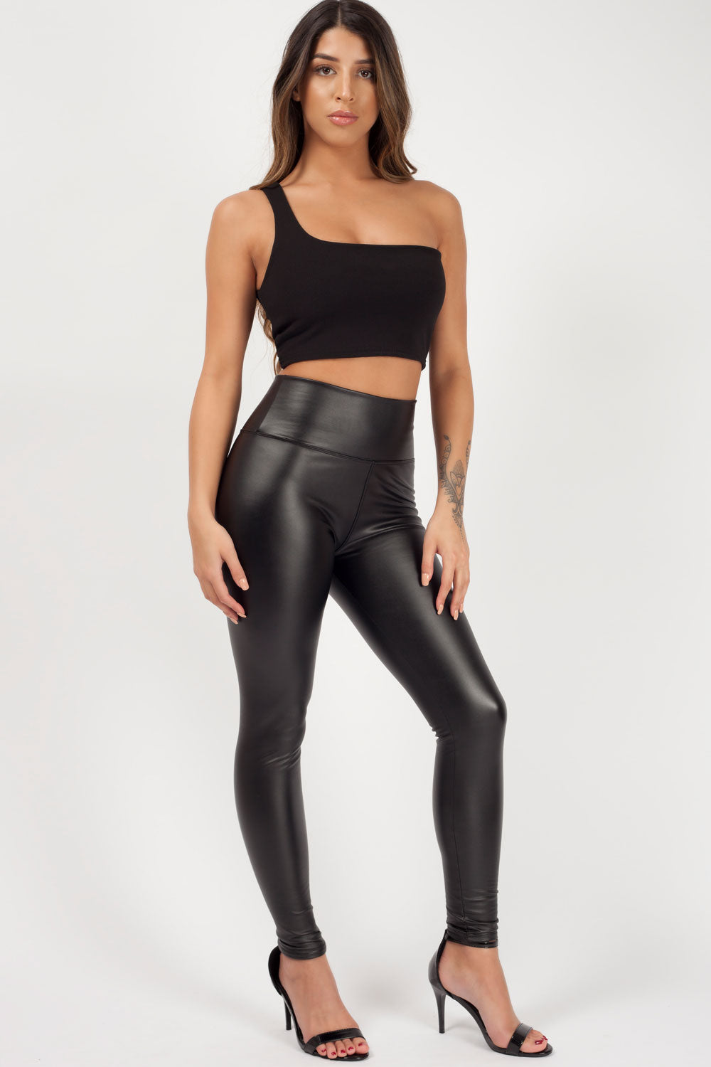 black wet look leggings styledup fashion