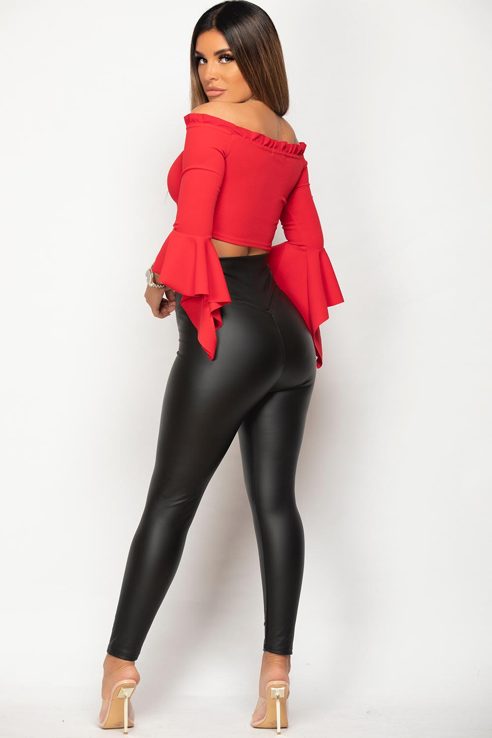 black high waisted ruched bum leggings