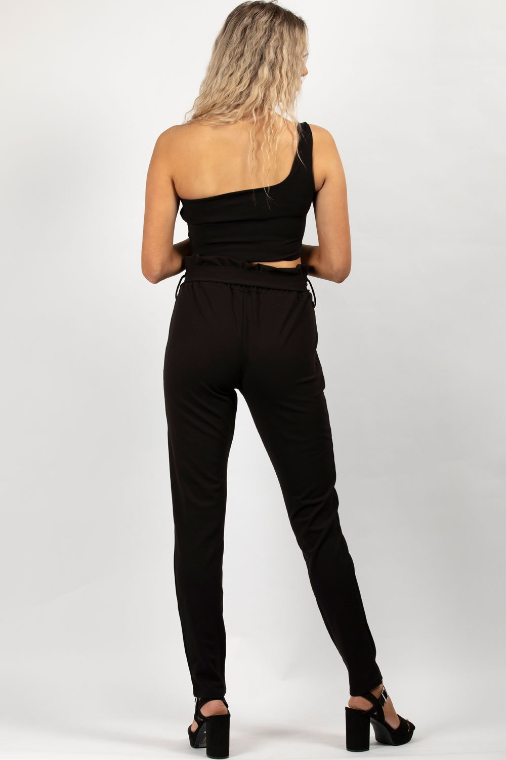 high waisted belted paperbag trousers