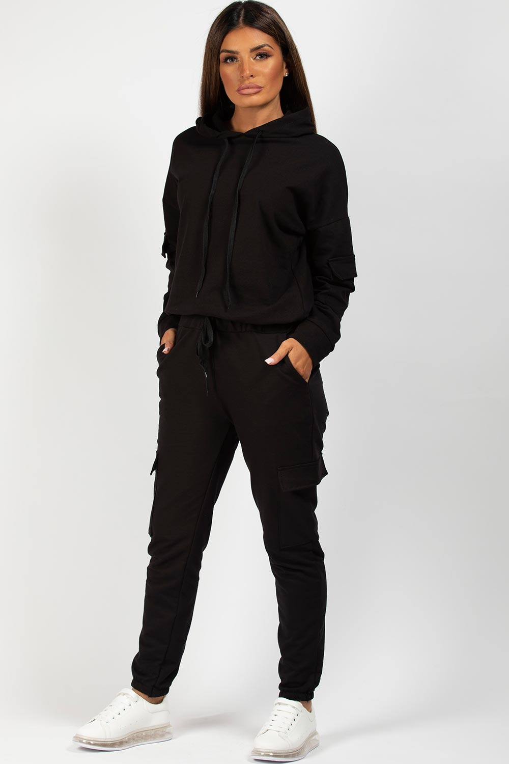 black hooded oversized loungewear set