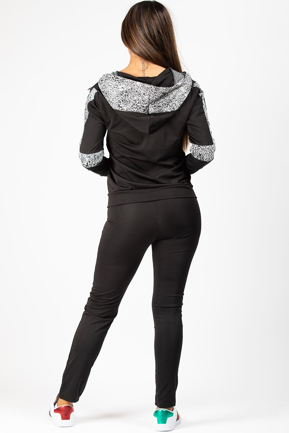 black and white hooded tracksuit womens
