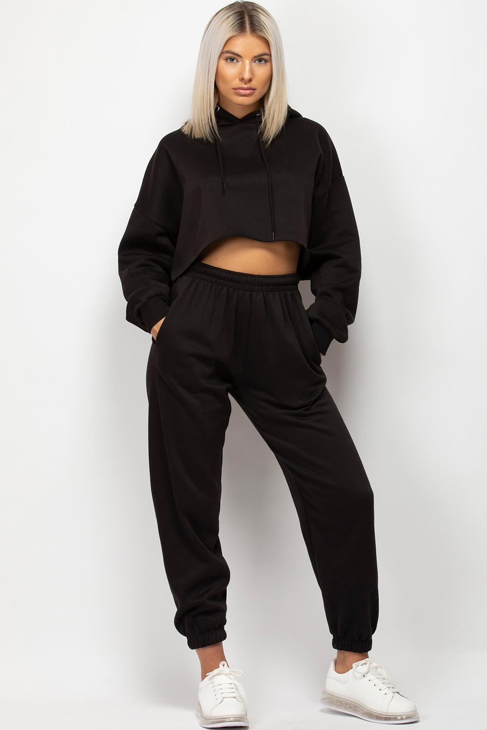 black hoodie and joggers set womens