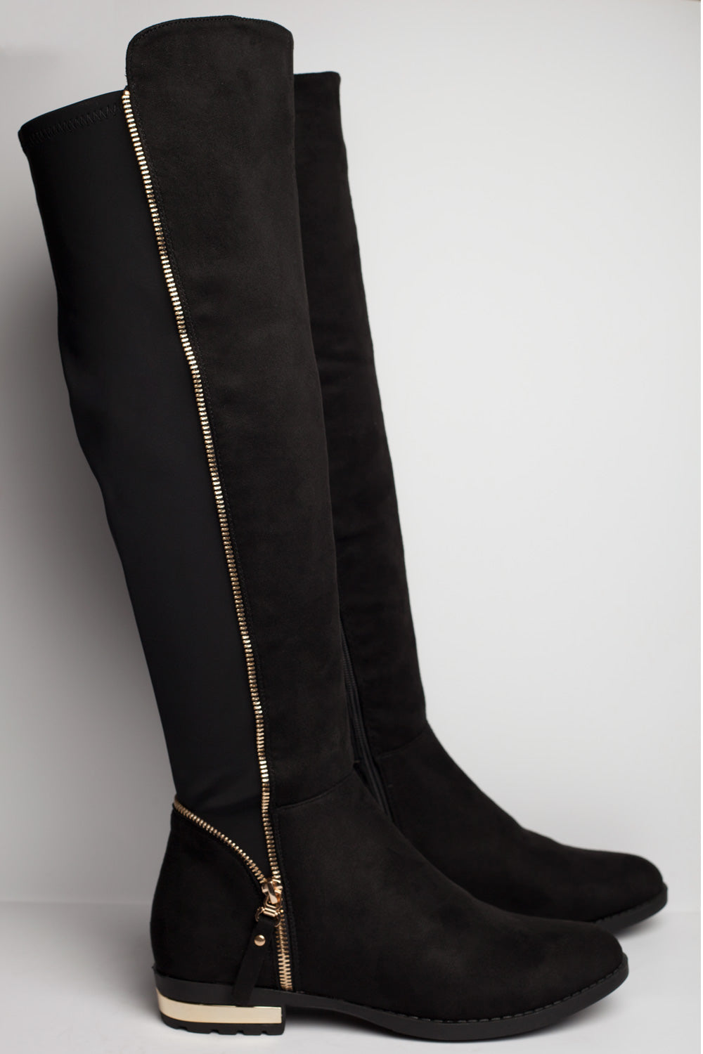 black suede knee high boots uk