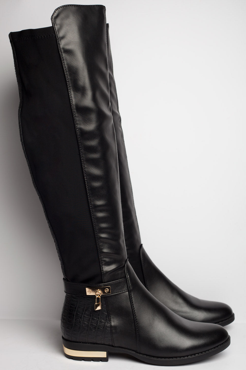 womens knee high boots black