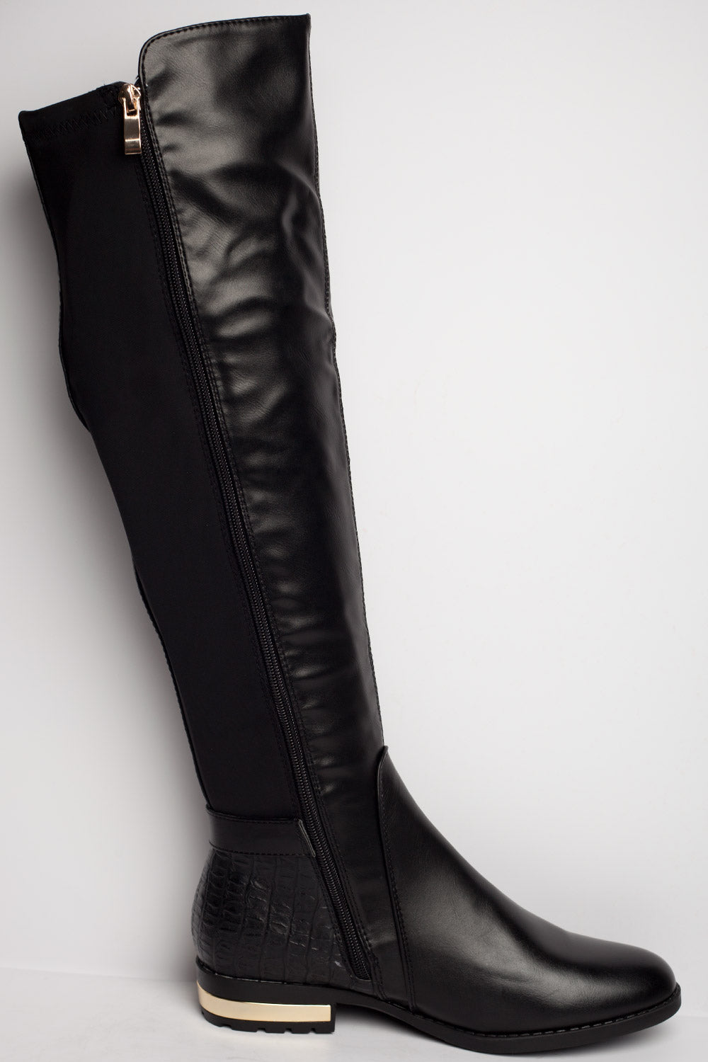 side zip knee high flat boots womens