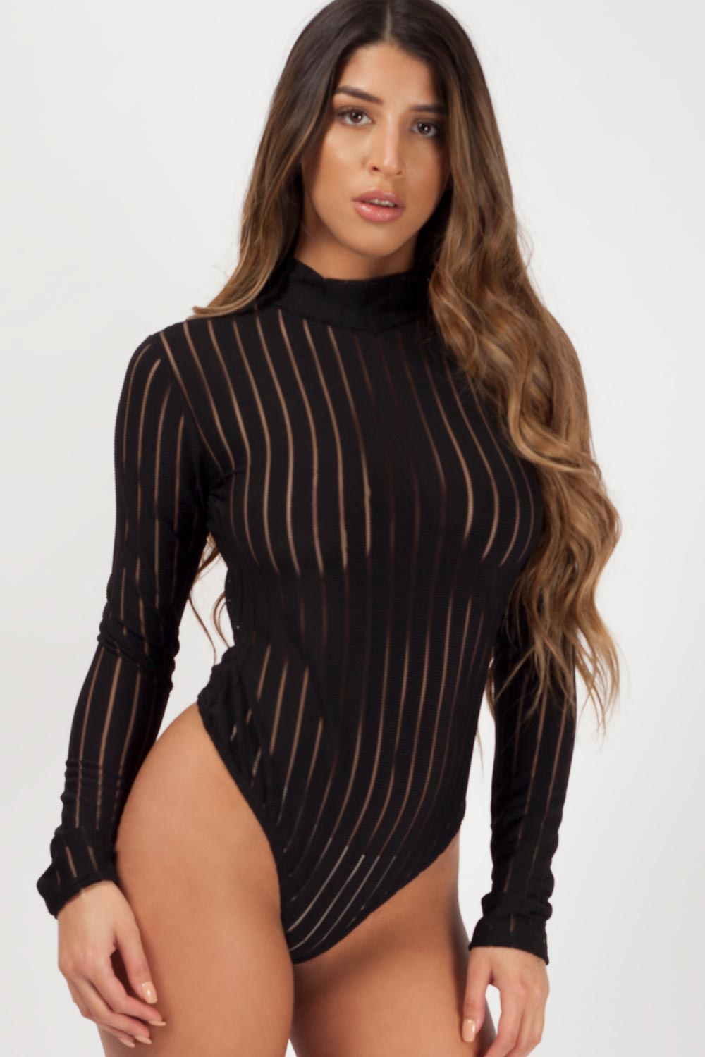 black long sleeve bodysuit uk